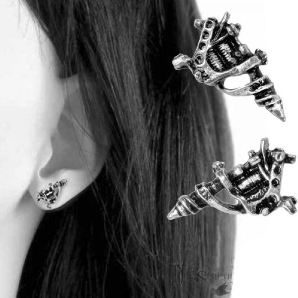 ALCHEMY GOTHIC Tattoo Gun Stud Earrings
